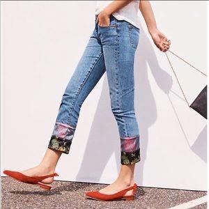 Pilcro slim boyfriend patchwork hem jeans